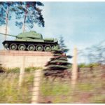 A Soviet tank on display in East Germany, seen from a US vehicle. Exact date unknown