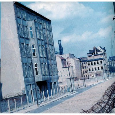 Houses on the Eastern side of the wall at Zimmerstrasse (Mitte) as seen from Kreuzberg, in the American sector.